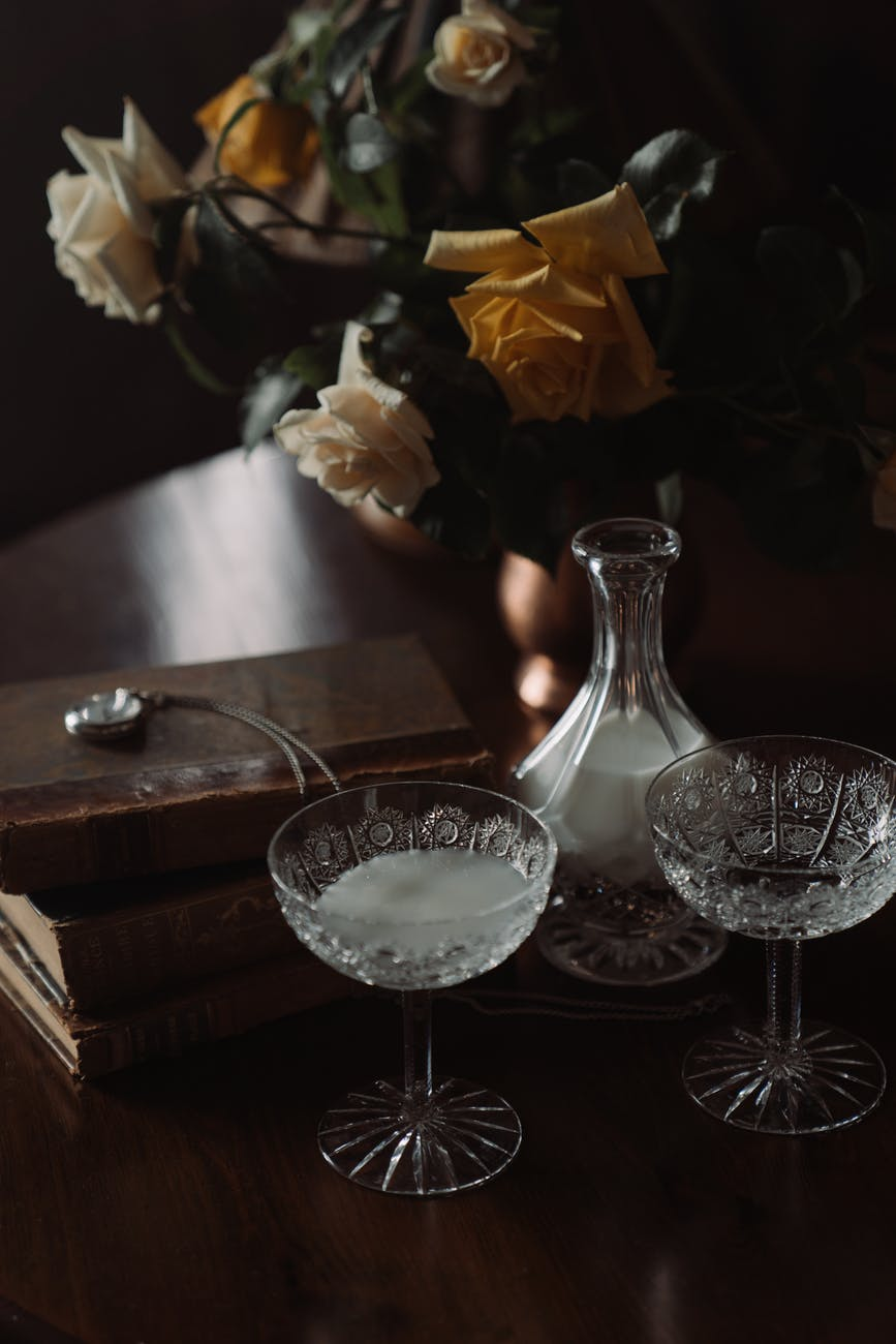 clear wine glass on black table